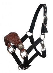 Showman ® Pony Size Floral tooled bronc nose halter.