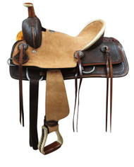 "12"" Double T  Youth hard seat roper style saddle..."