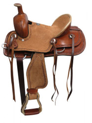 "12"" Double T  Youth hard seat roper style saddle...."