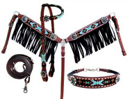 Showman ® 4 Piece beaded Navajo headstall and breast collar set.
