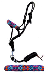 Showman ® Pony size rope halter with beaded noseband and removable lead with snap.