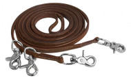 "Showman ®  Harness leather draw reins with 4 scissor snaps. 3/8"" x 11ft."