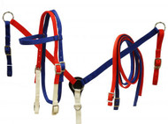 Showman ® Red, white and blue nylon headstall and breast collar set.