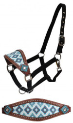 Showman® Brown and teal Navajo diamond print bronc halter with crystal rhinestones.