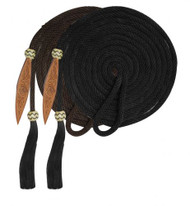 Showman® 21' Nylon Mecatie Reins with Horse Hair Tassle and Leather Popper.