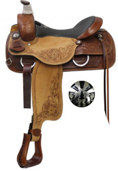 """16"""", 17"""" Double T  Roper Style Saddle with Cross Guns Conchos."""