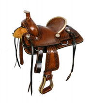 """12""""Double T hard seat roper style saddle with aztec design tooling."""