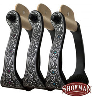 Showman ® Black engraved aluminum stirrups with rhinestones.