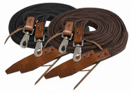 Showman ® 8ft flat braided nylon reins with leather popper ends.