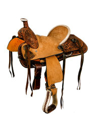 "12"" Double T hard seat roper style saddle with floral tooling."