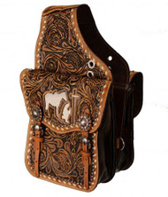Showman ® Tooled leather saddle bag with cutout praying cowboy.