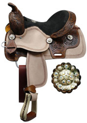"12"" Double T youth saddle with floral tooled pommel, cantle, and skirt."