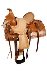 """10"""" Double T  Pony hard seat roper style saddle with acorn tooling."""