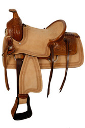 "13"" Double T hard seat roper style saddle with acorn tooling."