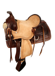 "13"" Double T hard seat roper style saddle with basketweave tooling."