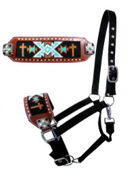Showman ® Nylon bronc halter with cross navajo beaded design.