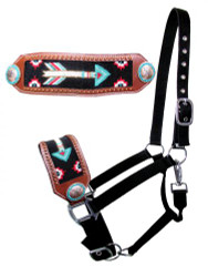 Showman ® Nylon bronc halter with beaded arrow design.