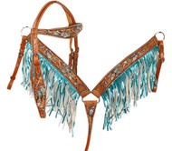 Showman ® Metallic painted feather and arrow browband headstall and breast collar set.