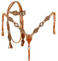 Showman ® Rawhide Braided Browband Headstall and Breastcollar Set.