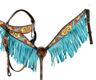 Showman ® Hand Painted browband headstall and breast collar set with tribal design.