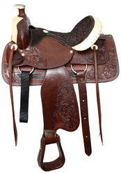 """16"""" Semi Acorn Tooled Buffalo Roper Style Saddle With Rawhide Silver Laced Cantle"""
