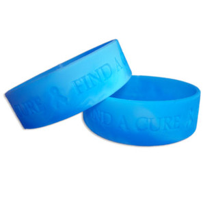 Blue Wide Find A Cure Wristband - 5 Pack