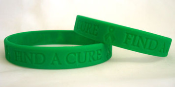 Green Ribbon Find A Cure Wristbands - 5 Pack
