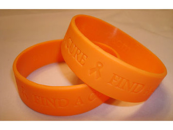 Orange Wide Find A Cure Wristband - 5 Pack