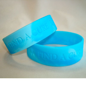 Teal Wide  Find A Cure Wristband - 5 Pack