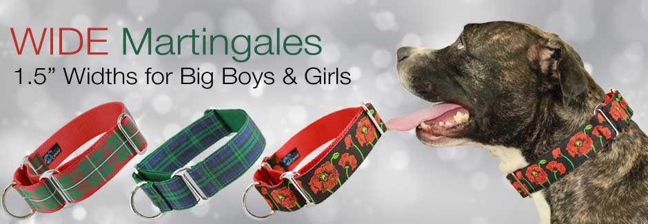 "1.5"" wide holiday martingale dog collars"