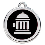 Fire Hydrant Dog ID Tag, Black Enameling, Stainless Steel Name Tag