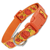 Summer Blossom Dog Collar, Quick Release Snap On Style Buckle, Floral Design, Adjustable