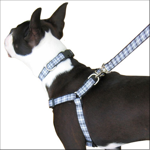 Step-in Dog Harness, Choke-Free Adjustable Black & White Tartan