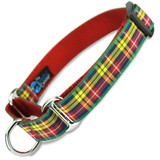 Plaid Martingale Dog Collar, Buchanan Red Tartan, Limited Slip Dog Collar, Safety Collar