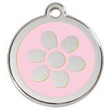 Flower Dog ID Tag, Pink Enameling, Stainless Steel Name Tag