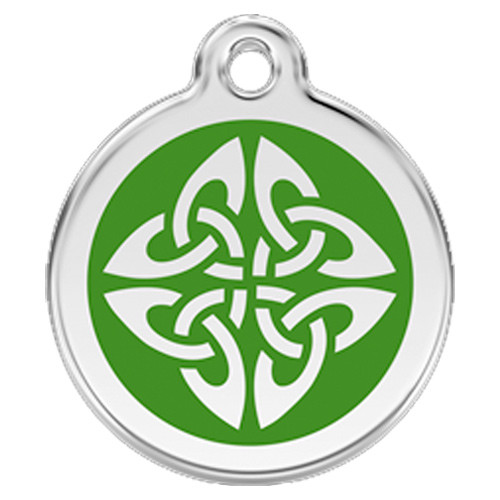 Tribal Dog Id Tag Green Enameling Stainless Steel Name Tag