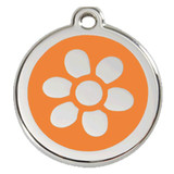 Flower Dog ID Tag, Orange Enameling, Stainless Steel Name Tag
