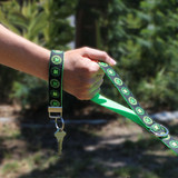 Irish Celtic Key Ring, Wristlet, Green Clover