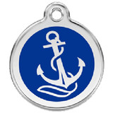 Nautical Dog ID Tag, Blue Enameled anchor, Stain Steel Name Tag