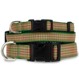 Gingham Check Dog Collar, Coral & Green