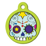 Day of the Dead Dog ID tag, candy skull dog id tag
