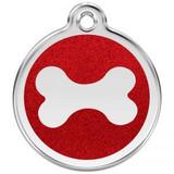 Red Glitter Bone ID Tag, Steel & Enamel, Bling