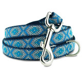 Blue Aztec 5' Dog Leash, Greek Key, Tribal Design