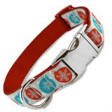 Christmas Dog Collar with Snowflakes, Quick Release metal Snap On Style Buckle