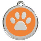 Orange dog id tag, paw print, stainless steel enameled