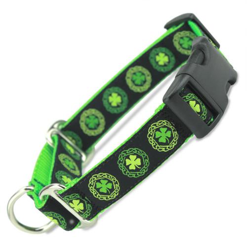 Buckle Martingale Collar, Irish Celtic, Green Limited Slip Safety Collar
