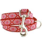Red Aztec 5' Dog Leash, Greek Key, geometric, Tribal Design