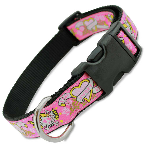 Pink Skull Dog Collar, Hot Pink with Roses & Hearts