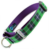 Plaid Martingale Collar - Purple & Green