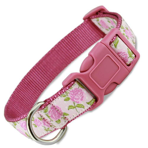 Pink Rose Dog Collar, Floral, Flower, pink dog collar, pink snap on dog collar